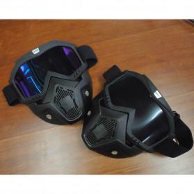 TaffSPORT BOLLFO Kacamata Goggles Mask Motor Retro Anti Glare Windproof WIDE - MT-01 - Black/Blue - 8