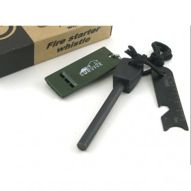 TaffSPORT Outdoor Survival Magnesium Flint Stone with Whistle - JD1422 - Black - 4