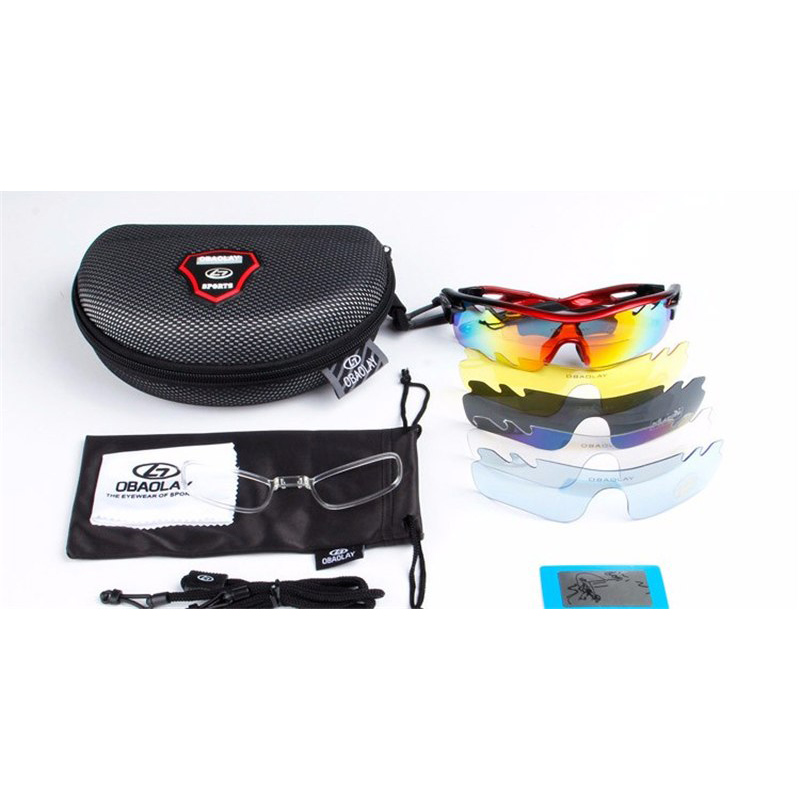 Obaolay Kacamata Sepeda Polarized Sunglasses UV400 dengan 5 Lensa - SP0896 - Black/Red .