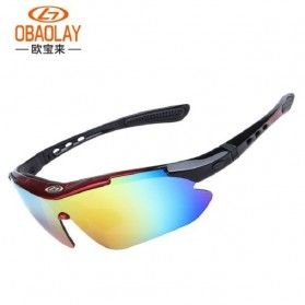 Obaolay Kacamata Sepeda Polarized Sunglasses UV400 - SP0868 - Black/Red