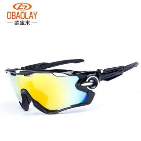 Aksesoris dan Variasi Sepeda Lainnya - OBAOLAY Kacamata Sepeda dengan 3 Lensa - 9270 - Black