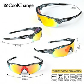 CoolChange Kacamata Sepeda dengan 5 Lensa Myopia - 0093 - Gray - 2
