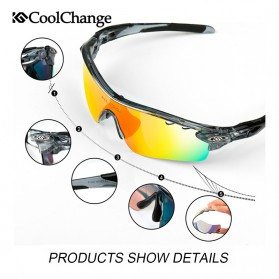 CoolChange Kacamata Sepeda dengan 5 Lensa Myopia - 0093 - Gray - 3