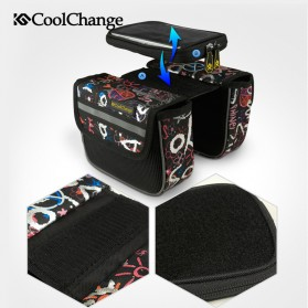 CoolChange Tas Sepeda Double Bag Smartphone 5 Inch - 12009N - Black/Silver - 3