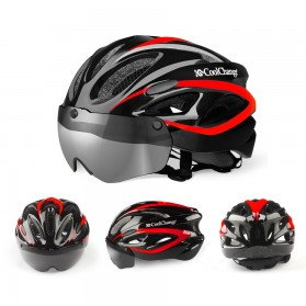 CoolChange Helm Sepeda EPS Windproof with 3 Lens - 19020 - Red