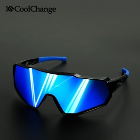 CoolChange Kacamata Sepeda Sport Cycling Glasses UV400 - 0098E - Black/Blue