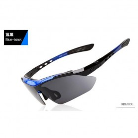 North Wolf Kacamata Sepeda dengan 5 Lensa & Myopia Frame - Blue/Black