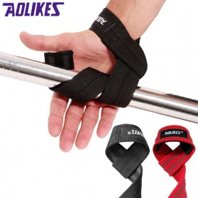 Aolikes Strap Tangan Angkat Beban Anti Slip Strap Weight Lifting 2 PCS - 7635 - Black