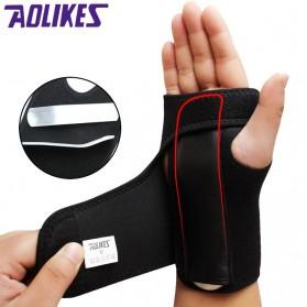 AOLIKES Pelindung Tangan Adjust Wristband Steel Wrist Brace Carpal Tunnel Syndrome Left 1 PCS - A-7639 - Black