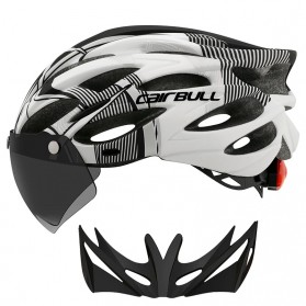 CAIRBULL Helm Sepeda Powermeter MTB Breathable Cycling Helmet Visor Removable Lens - CB26 - Black White