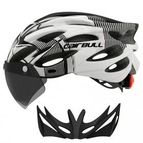 CAIRBULL Helm Sepeda Powermeter MTB Breathable Cycling Helmet Visor Removable Lens - CB26 - Black White - 1