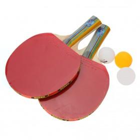 REGAIL Perlengkapan Set Tenis Meja Pingpong 2 Raket + 3 Bola - Red