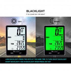 West Biking Speedometer Sepeda LCD 2.8 Inch Waterproof - B2-1-20 - Black - 4