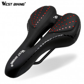 West Biking Jok Sadel Sepeda Bike Saddle Silicone Gel Cushion PU Leather - YP0801086 - Black - 1