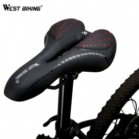 West Biking Jok Sadel Sepeda Bike Saddle Silicone Gel Cushion PU Leather - YP0801086 - Black - 3