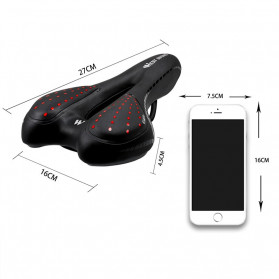 West Biking Jok Sadel Sepeda Bike Saddle Silicone Gel Cushion PU Leather - YP0801086 - Black - 6