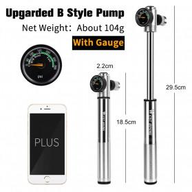 West Biking Pompa Angin Ban Sepeda Portable 300PSI with Pressure Gauge Barometer - Black - 2