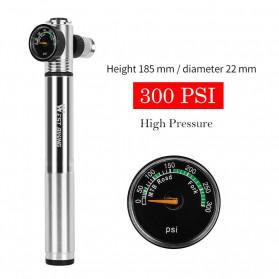 West Biking Pompa Angin Ban Sepeda Portable 300PSI with Pressure Gauge Barometer - Black - 4