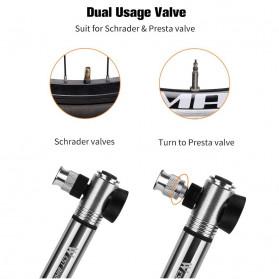 West Biking Pompa Angin Ban Sepeda Portable 300PSI with Pressure Gauge Barometer - Black - 5