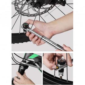 West Biking Pompa Angin Ban Sepeda Portable 300PSI with Pressure Gauge Barometer - Black - 6