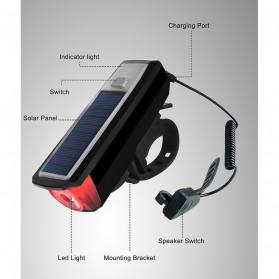 WEST BIKING Lampu Klakson Sepeda Solar & USB Power Waterproof - HJ-052 - Black - 4