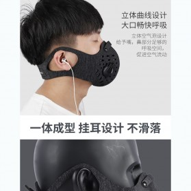 WEST BIKING Masker Anti Debu Polusi PM2.5 Bicycle Running Face Mask with Filter Activated Carbon - Black - 2