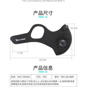 WEST BIKING Masker Anti Debu Polusi PM2.5 Bicycle Running Face Mask with Filter Activated Carbon - Black - 3