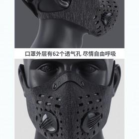 WEST BIKING Masker Anti Debu Polusi PM2.5 Bicycle Running Face Mask with Filter Activated Carbon - Black - 5