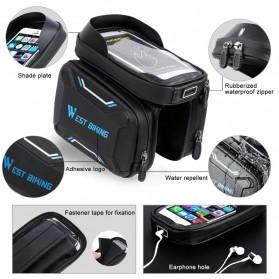 WEST BIKING Tas Sepeda Handlebar Smartphone Screen Touch Waterproof - YP0707 - Black - 6