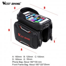 WEST BIKING Tas Sepeda Handlebar Smartphone Screen Touch Waterproof - YP0707 - Black - 7