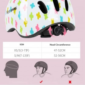 WEST BIKING Helm Sepeda Anak Bicycle Scooter Riding Helmet Protective Gear Size S - White - 4