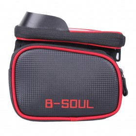 B-SOUL Tas Sepeda Waterproof Smartphone 6.2 Inch - YA0210 - Black/Red - 3