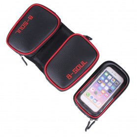 B-SOUL Tas Sepeda Waterproof Smartphone 6.2 Inch - YA0210 - Black/Red - 5