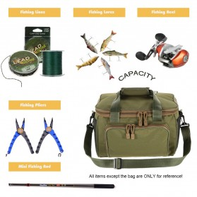 LEO Tas Selempang Perlengkapan Memancing Profesional Multifungsi Fishing Canvas Bag - 27748 - Black - 2