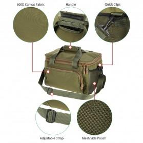 LEO Tas Selempang Perlengkapan Memancing Profesional Multifungsi Fishing Canvas Bag - 27748 - Army Green - 8