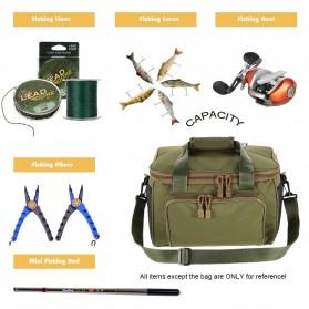LEO Tas Selempang Perlengkapan Memancing Profesional Multifungsi Fishing Canvas Bag - 27748 - Army Green - 2