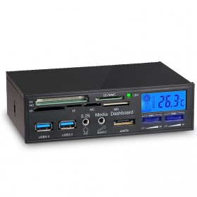 Multifunction Computer Chassis Front Panel Fan Control USB 3.0 Card Reader Aux eSata - Black