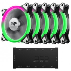 Aigo Aurora C5 CPU Fan RGB LED 120mm 5PCS with Controller - 2
