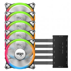 Aigo Aurora C5 CPU Fan RGB LED 120mm 5PCS with Controller - 4