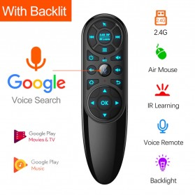VONTAR Wireless Air Mouse 6 Axis Gyroscope 2.4GHz Backlit with Voice Search - Q6 Pro - Black