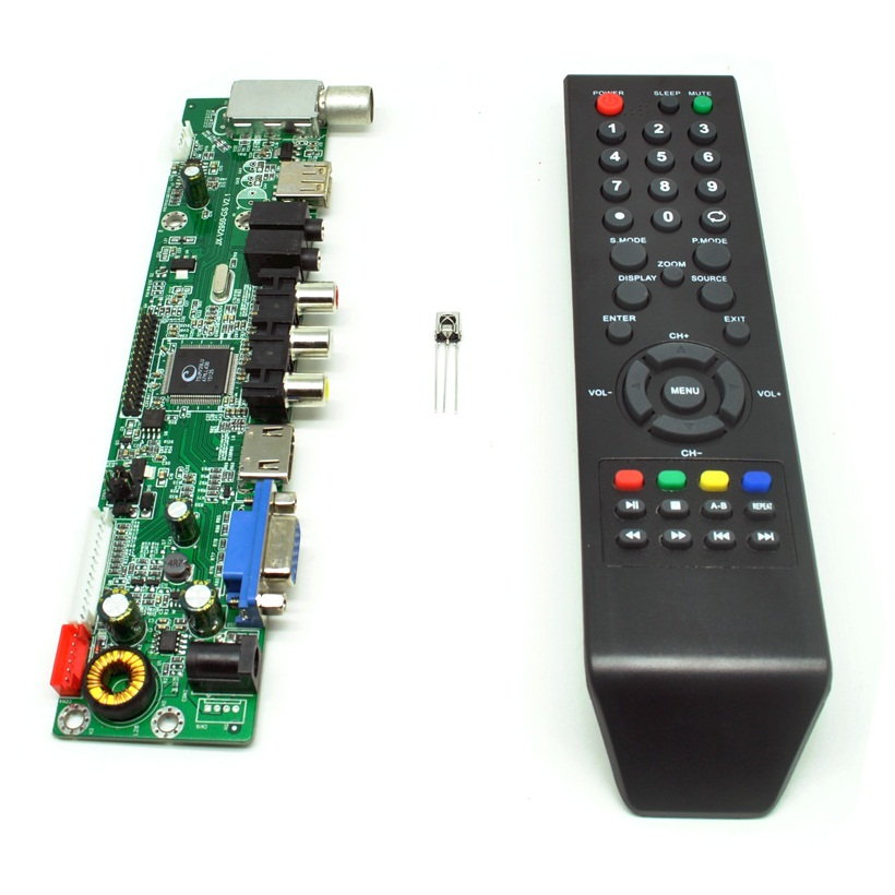 Universal LCD Controller Board TV Motherboard VGA / HDMI / AV / TV / USB -  Black