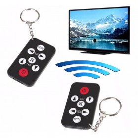 Universal TV Remote Control Mini with Keychain - Black - 7