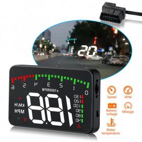GEYIREN Display HUD Mobil OBD2 Speedometer Overspeed Warning - A900 - Black
