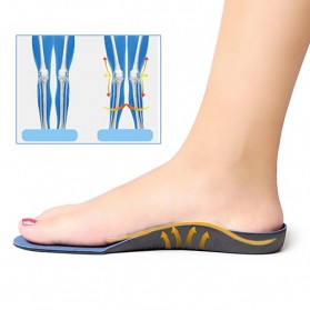 Alas Kaki Sepatu EVA Flatfoot Orthopedic Feet Cushion Massage Insole Size 44-47 - E003 - Blue - 6