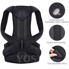YOSYO Belt Magnetic Terapi Koreksi Postur Punggung Size L - Y11002 - Black - 4