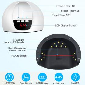 Inlife Pengering Kutek Kuku UV LED Nail Dryer 45W - SP180 - White - 6