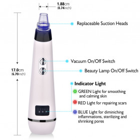 Hailicare Vacuum Suction Komedo Wajah Skin Face Care Blackhead Pore Cleaner 5 Heads - 3107 - White - 2