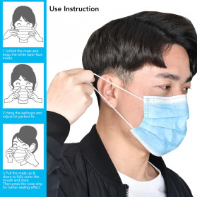 YAJIE Masker Bedah Filter Udara Anti Polusi Virus Corona 3-Ply 1 PCS - Blue - 7