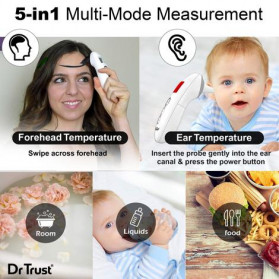 Dr Trust Handy Digital Forehead and Ear Thermometer Infrared LCD - 607 - White - 2