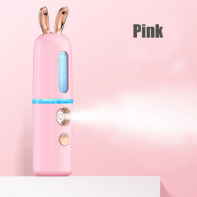 CkeyiN Steamer Muka Portable Mini Nano Spray Machine Beauty Skin Humidifier Model Kelinci - MR449P - Pink